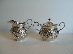 Stunning A.g. Schultz And Co. Sterling Silver Repousse Creamer And Covered Sugar Set