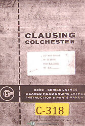 Clausing Colchester 15, 8000 Series Mkii Lathe Instruction And Parts Manual 1978