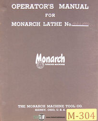 Monarch 1000 13 Ee, Precision Lathe, Install Parts And Lubrication Manual 1954