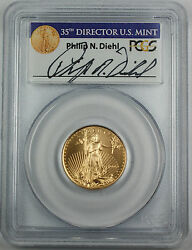 1999-w 10 American Gold Eagle Pcgs Ms-69 Emergency Issue Diehl Autographed.
