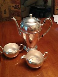 Academy Silver On Copper Coffee Pot And Creamer And Sugar