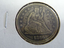 1876 Seated Liberty Quarter Uncirculated Counter Stamped Sept. Keep