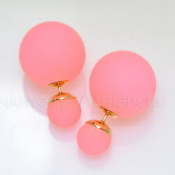 Coral Pink Double Sided Earrings Gold Tone Post Stud, Good Quality Made In Korea