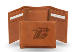 Baltimore Ravens Nfl Embossed Leather Trifold Wallet New