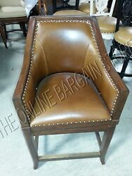 Frontgate Sheldon Counter Height Bar Chair Wicker Barstool Leather Seagrass 24