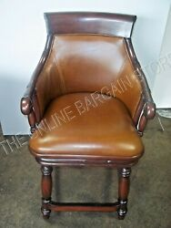 Frontgate Marco Woven Back Kitchen Dining Counter Bar Stool Chair Leather