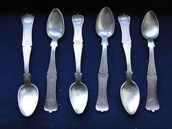 Turkish Sterling Silver Set Of Tea Spoons Antique 1860 Good Shape And Style Marked