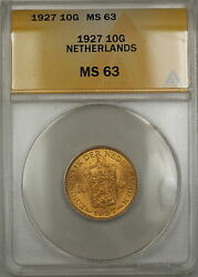 1927 Netherlands 10g Gulden Gold Coin Anacs Ms-63