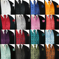 New Menand039s Paisley Design Dress Vest And Neck Tie Hankie Set For Suit Or Tuxedo