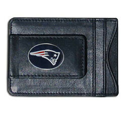 New England Patriots Nfl Football Team Leather Card Holder Money Clip Wallet