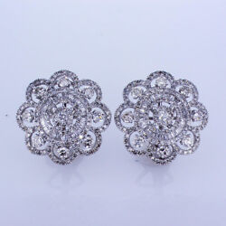 3.23ctw Diamond And Baguette Floral Pave French Back Earrings In 18kt White Gold