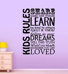 Kids Rules Words amp; Phrases Wall Decals