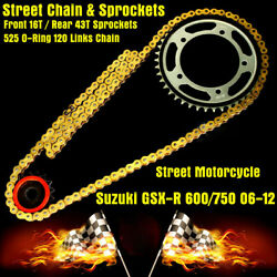 For Suzuki Gsxr750 06-12 O-ring Quick Acceleration Chain And Sprockets Kit