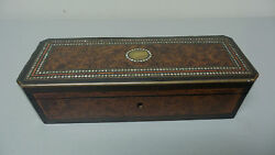 Antique Napoleaon Iii French Drop Front Glove Box, Mop Inlay Decoration On Top