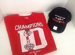 Chicago Blackhawks N H L Stanley Cup 2010 Champions X L Red T Shirt And Black Cap