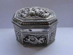 Box Chased And Engraved Sterling Silver India 1880 Beautiful Antique