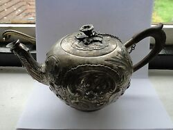 Sterling Silver Tea Pot Chased And Engraved Fully Marked 1860 Northern Europe