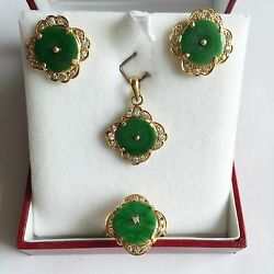 Jewelry Set Of Jade Earring, Pendant, Ring 14k Solid Yellow Gold Green Jade - O3