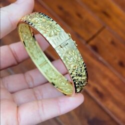 18k Solid Real Yellow Gold Engraved Dragon And Phoenix Bangle 56 Mm, W 11 Mm - B11