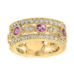2.14 Ct Pink Sapphire And Diamond Eternity Ring Set In 14k Yellow Gold Idjr6108ydp