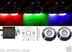 2pc 60w Marine Boat Rgb Led Underwater Surface Transom Mount Lights + Controller