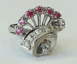 Vintage 14k White Gold 1.12ct Natural Old Cut Diamond And Ruby Cluster Ring Size 6
