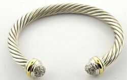 David Yurman Sterling Silver 18k Classic Cable Bangle With Diamond End Caps
