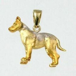 American Terrier Dog Charm Pendant 14K Solid Yellow Gold Animal Charms 24-10