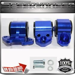 Engine Mount Kit Blue For 92-95civic 94-01 Integra 93-97 Del Sol 3 Post Only