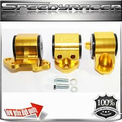 Engine Mount Kit Gold For 92-95civic 94-01 Integra 93-97 Del Sol 3 Post Only