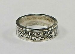 Puerto Rico Silver Us State Quarter Handmade Coin Ring Size 4-12