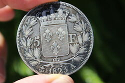 French Silver Coin 5 Franc 1823 Louis Xviii 37mm France