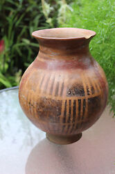 Undated Archaic American Large 9.5 Inches Polychrome Pottery Jar