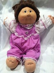 Vintage 1982 Cabbage Patch Kid Baby Doll Purple/white Outfit