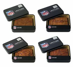Nfl Team Embossed Brown Leather Trifold Wallet - Pick Your Team