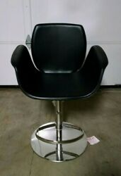 Frontgate Salerno Bar Height Stool Black Leather Chair Modern 360 Swivel