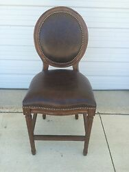 2 Frontgate Langston Counter Height Brown Leather Barstool Wood Stools 24