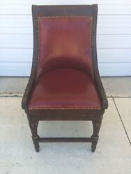 Frontgate Kent Red Leather Barstool Counter Bar 24 Seat Wood Kitchen Stool Ruby