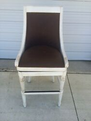 Frontgate Kent Brown Leather Barstool Bar 30 White Wood Kitchen Counter Stool