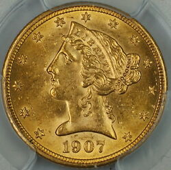 1907 Liberty 5 Half Eagle Gold Coin Pcgs Unc Details Appears Very Choice Bu