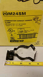 Box Of 100 Erico Caddy Fasterners 20m24sm Side Mount Combo Conduit Hangars 1.25
