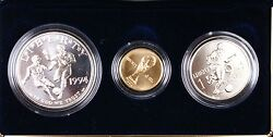 1994 Us Mint World Cup Commemorative 3 Coin Bu 5 Gold 1 Silver Clad Half Ogp