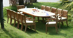 Giva A-grade Teak 13 Pc Dining 117 Oval Table Arm Chair Set Outdoor Garden