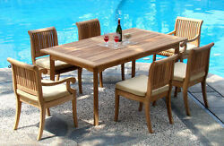 Giva A-grade Teak Wood 7pc Dining 94 Rectangle Table Chair Set Outdoor Patio Nw