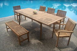 Leveb A-grade Teak 7pc Dining 94 Rectangle Tablebenchstacking Arm Chair Set