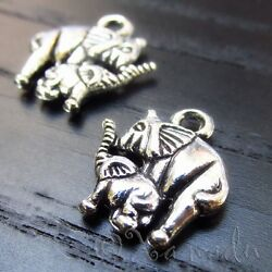 Elephant Mom And Baby 15mm Antiqued Silver Plated Charms C4115 - 10 20 Or 50pcs