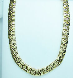 14K Yellow Gold Necklace  67 Gram Bezintine Link Style 17 inches
