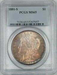 1881-s Morgan Silver Dollar 1 Coin Pcgs Ms-65 Toned Gem Proof-like 2b
