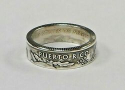 Puerto Rico Silver Us State Quarter Handmade Coin Ring Or Pendant Size 4-12
