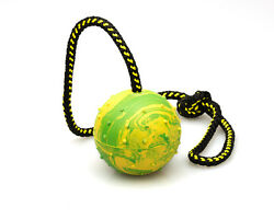 Dog Rubber Ball on Rope K9 Training Reward Fetch 3quot; 75mm